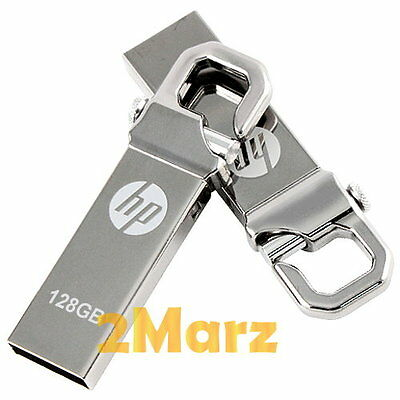 HP v250 128GB 128G USB Flash Drive Storage Memory Stick Hook Clip Lock Metal