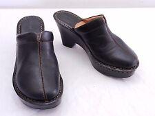BORN Womens 7 Black Leather Top Seam Block Wedge High Heel Slide Mule Clog Shoes