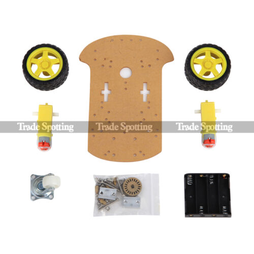 2WD Smart Robot Car Chassis Kit//Speed Encoder Battery Box Arduino 2 Motor 1:48 W
