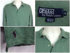 RALPH LAUREN Mens Large Green Cotton & Wool LS Polo Shirt Maroon Pony Logo USA