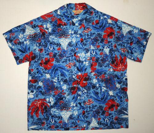 Vtg 50s Laguna Cotton Hawaiian Shirt Lg Made In Ca
