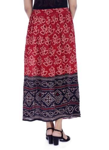 Indian Skirt Free Size Waist Long Women Dress Skirt Ethnic Print Wrap Around Red