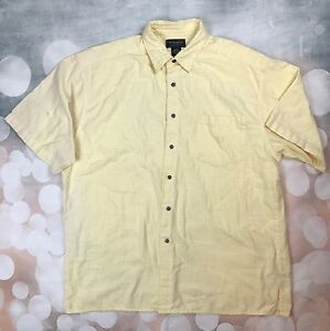 Duck-Head-100-Cotton-Mens-Large-Yellow-Plaid-Short-Sleeve-Polo-Shirt