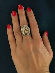 Analytique Anello In Argento 925 Cammeo Sardonico Ring Cameo Made In Italy