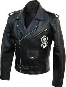Details about Leather Jacket Rockabilly Chopper Biker Leather Jacket Rocker Punk Real Cow Leather show original title