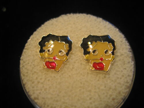 BETTY BOOP Screw Back Child Character Earring in Silver COVERED in Acrylic