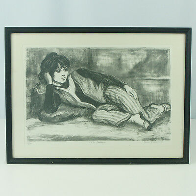 Marion Greenwood 8th Street Odalisque Lithograph Print Pencil Signed Framed