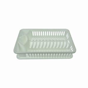 Egouttoir-a-vaisselle-de-cuisine-en-plastique-avec-Plateau-d-039-egouttage-Blanc