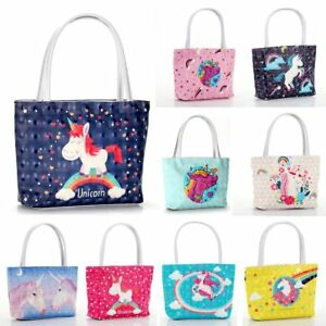 Girl-Women-Unicorn-Handbag-PU-Leather-Shoulder-Bags-Totes-Cosmetics-Storage-Bag