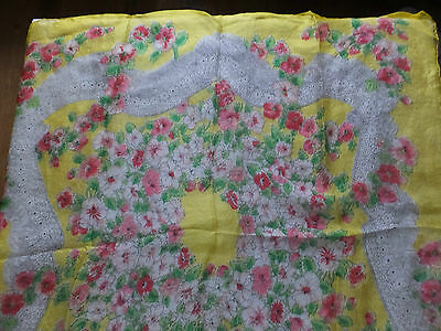 Vintage 'Spring Flowers' Silk Scarf  - Yellow with Pink Flowers