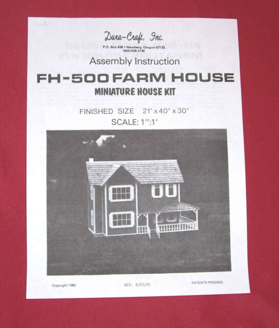 Dura Craft Farm House Fh 500 1981 Dollhouse Instructions Ebay