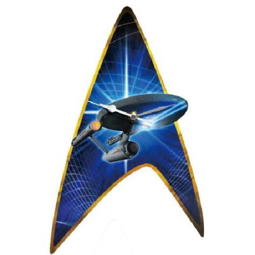 Classic Star Trek Enterprise and Command Insignia Cordless Wall Clock NEW SEALED