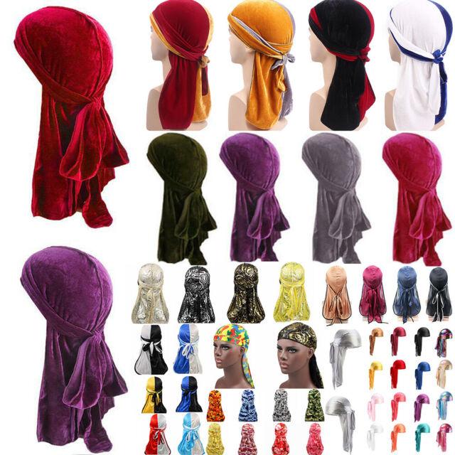 Men Women Silky Durag Turban Hat Bandanas Rose Floral Print Satin Long Tail Cap