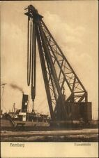 Hamburg Germany - Nice View of Large Crane Attached to Ship c1910 PC