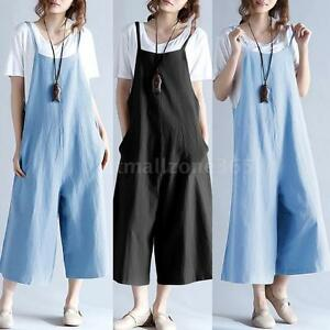 United Plus Size Vintage Jumpsuits For Women Cotton Jumpsuit Strappy Sleeveless Pockets Buttons Wide Legs Harem Loose Playsuit Rompers Terrific Value Women's Clothing
