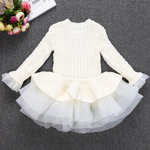 Kids Girls Knitted Sweater Winter Pullovers Crochet Tutu Dress Tops Clothes