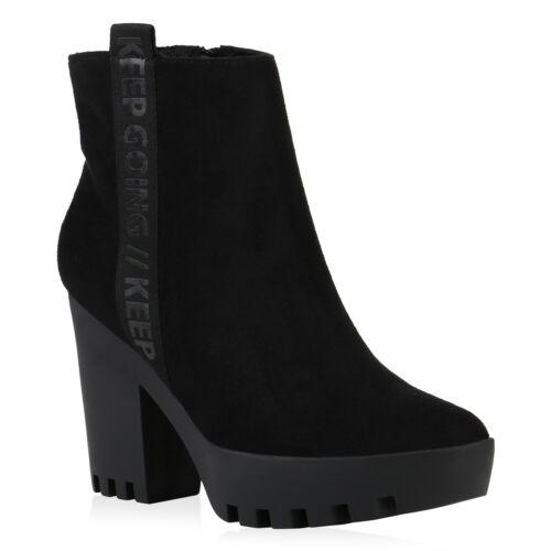 Damen Plateau Boots Gefütterte Stiefeletten Prints Blockabsatz 831531 Trendy