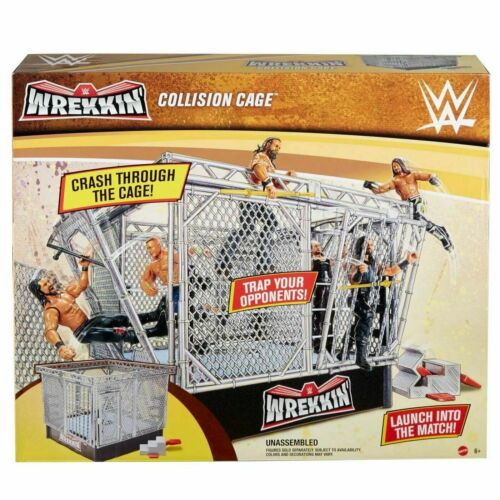 WWE WREKKIN COLLISION CAGE PLAYSET BREAKABLE STEEL CAGE /& RING