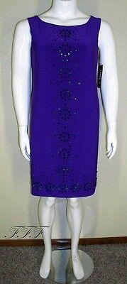 Onyx Nite NWT Plus Size 20W Purple Sleeveless Bead Embellished Dress $109 6224