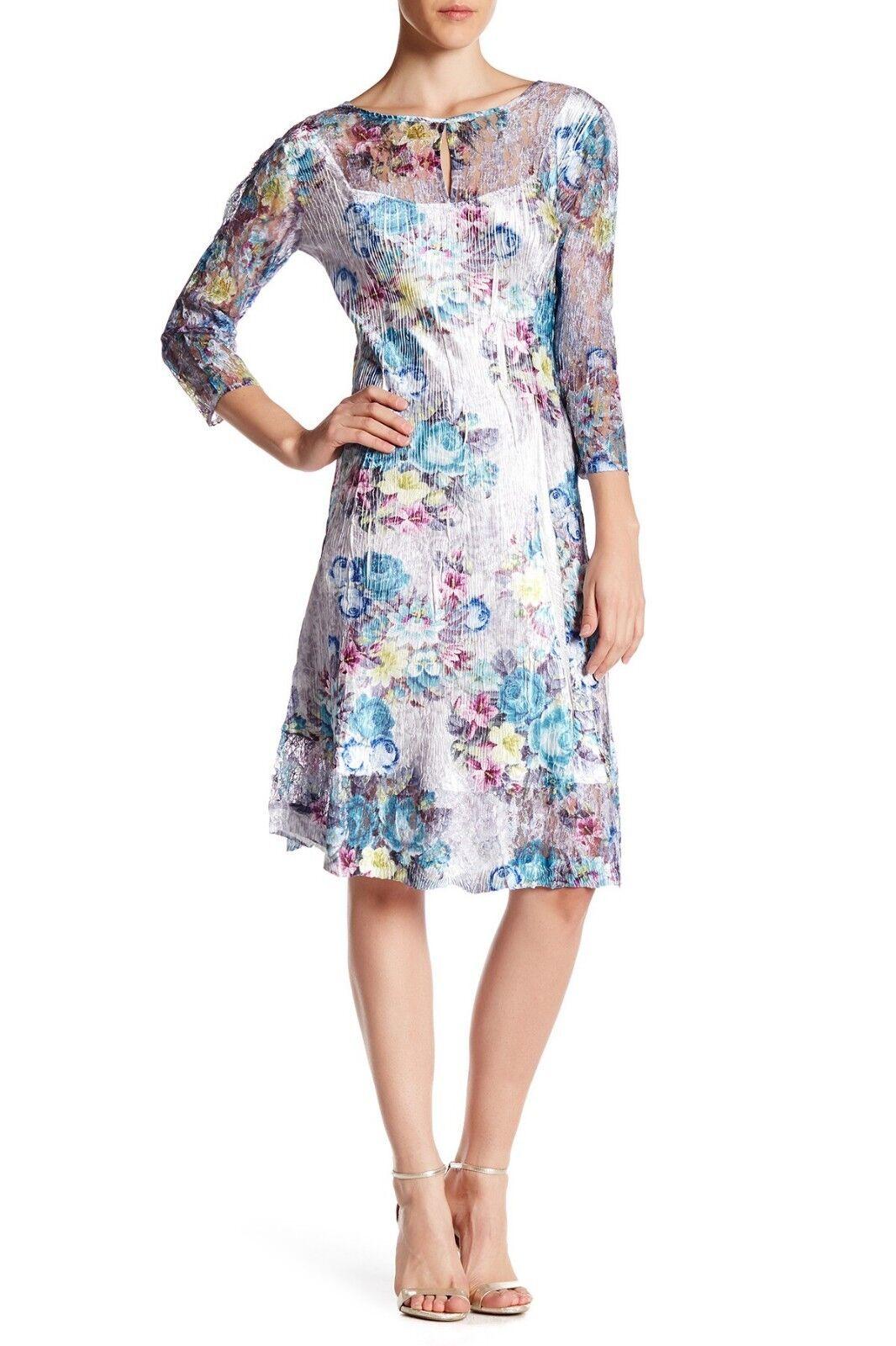 300 KOMAROV Floral Print Dress 3  4 spetsärm Keyhole bröllop Romantic TGG