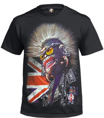 PUNK GORILLA T-Shirt//Biker//Union jack//Anarchy//Studs//Piercings//Rock//Xmas Gift//Top