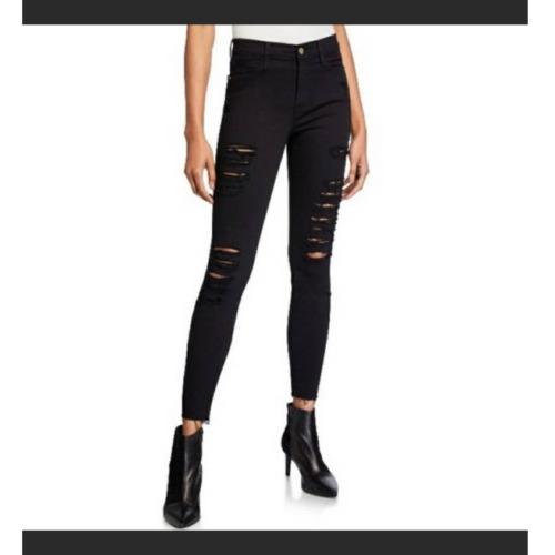 Frame Le High Skinny Film Noir Rip Skinny Jeans