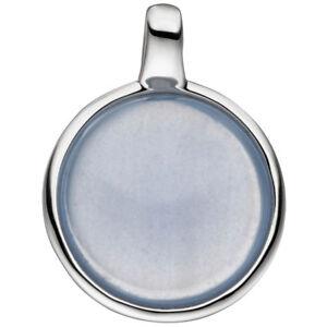 Anhaenger-925-Sterling-Silber-mit-1-Calzedon-blau-rund-Silberanhaenger