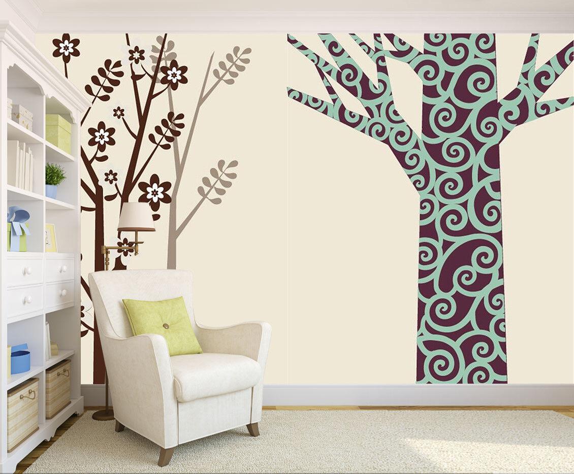 3D Simple Draw Tree 7 Wall Paper Murals Wall Print Wall Wallpaper Mural AU Kyra