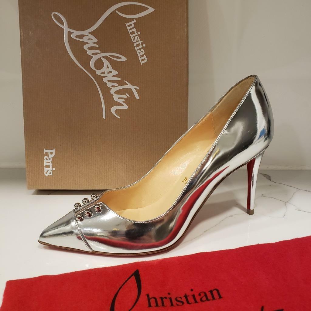 Christian Louboutin ProssoUPUMP 85 Studted Metallic Pump Heels  Scarpe argentoo  845  la migliore selezione di