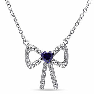 Sterling Silver Heart-cut Created Blue Sapphire Bow Pendant Necklace