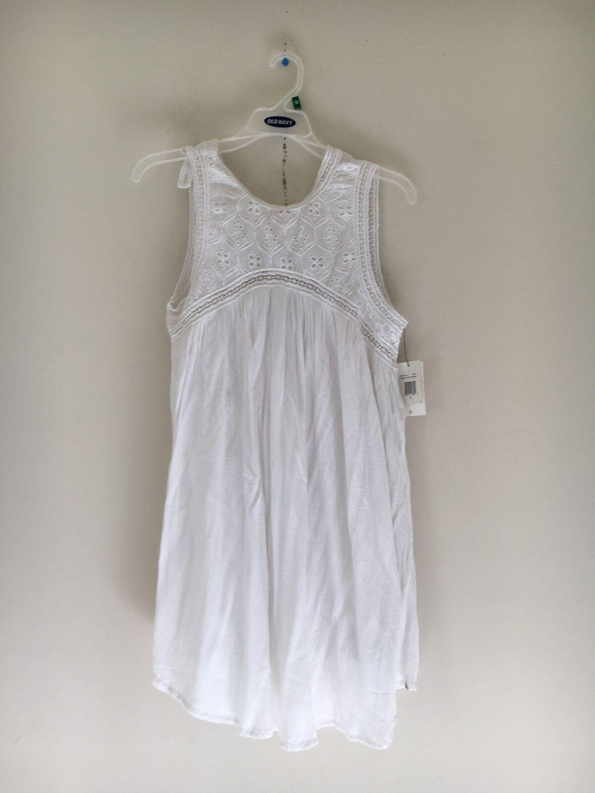 NWT VOLCOM Women's Stylish White Lace Dress 100% COTTON SIZE S
