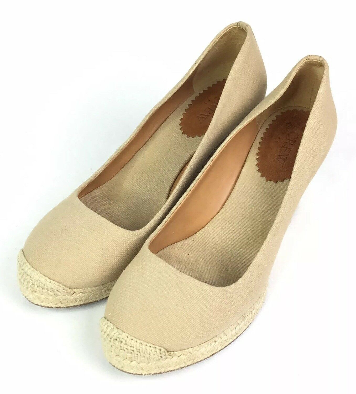 J Crew Factory Flax Beige Canvas Espadrille Wedges Slip On shoes Womens Size 8.5