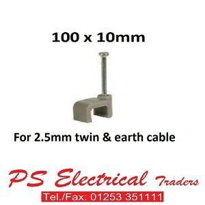 100-X-NEW-QUALITY-FLAT-10MM-GREY-CABLE-CLIPS