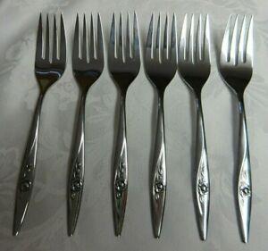 7 Salad Forks Oneida LASTING ROSE Oneidacraft Deluxe Stainless 6 14