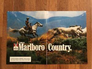 2-Page-Marlboro-Cigarette-Print-Ad-1988-Come-to-Marlboro-Country-Cowboy