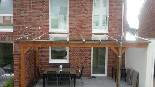 5 x 3,5 m Terrassenüberdachung Terrassendach Leimholz Leimbinder Stegplatten