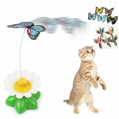 Funny Pet Cat Kitten Toys Electric Rotating Butterfly Rod Cat Teaser Play Toy UP