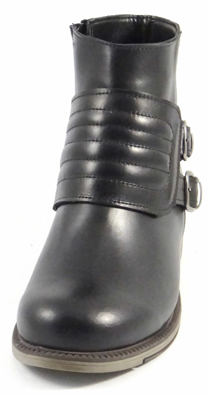 OGS Wide Shoes Danaya Black Leather Boots 3E wide