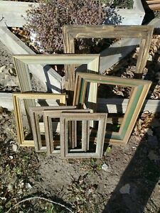 Vintage-Lot-7-Picture-Art-Frames-Estate-Lot-WOOD-8x6-to-12x18-shabby-chic-gesso