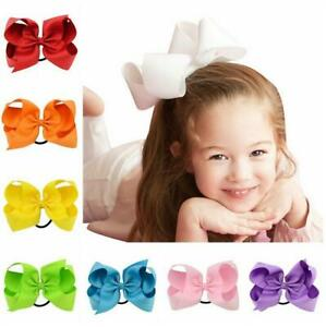 GIRLS,KIDS Grosgrain Ribbon Bow Hair Elastic Ponytail Hair Band Bobble NEW