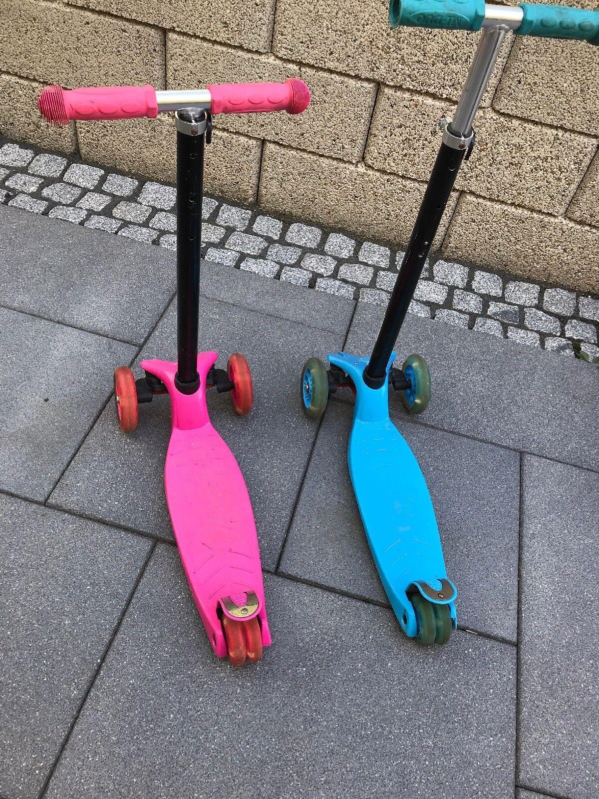 2 Rosa+blau Scooter Kinder Roller tretroller Kickscooter 3 räder mit LED Licht