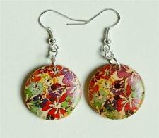 Flower Printed Floral  Wood Button Dangle Earrings
