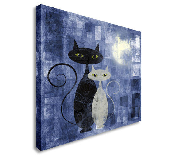 Black And White Cat On Blue Grunge Canvas Canvas Wall Art prints high quality
