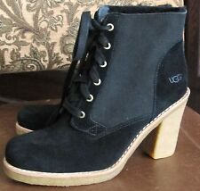 UGG Lace Up SOFIA  Black Suede Boots $200 Sz. 9 M NWOB WOW!