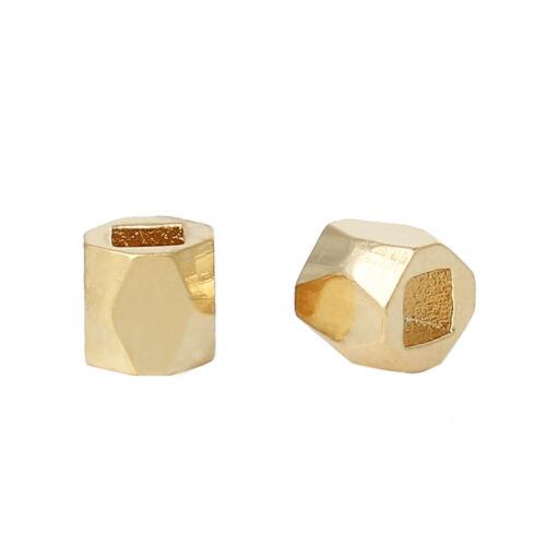 50x eckige Metallperlen Spacer beads Cubic 18k vergoldet 3,4x3,4mm NEU Schmuck