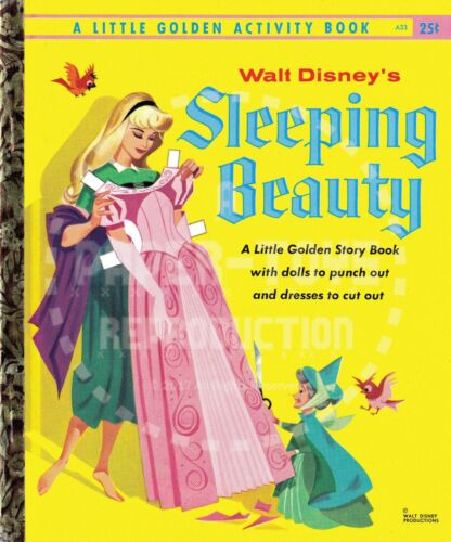 VINTAGE REPRINT 1957//59 SLEEPING BEAUTY LITTLE GOLDEN ACTIVITY PAPER DOLLS