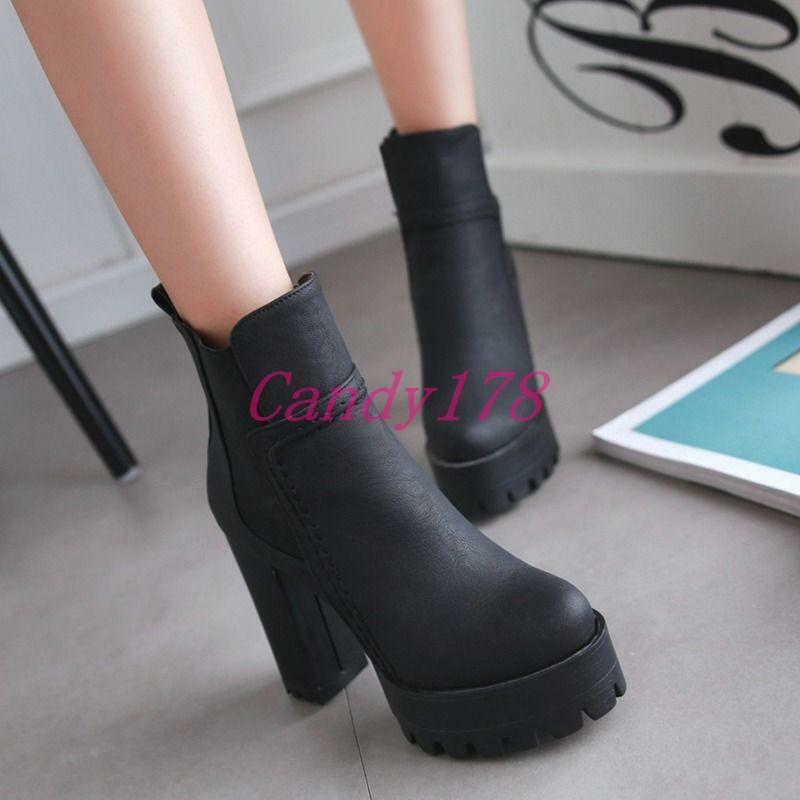 Elastic Womens Faux Leather Platforms High Chunky Heels Boots shoes Size 5-13