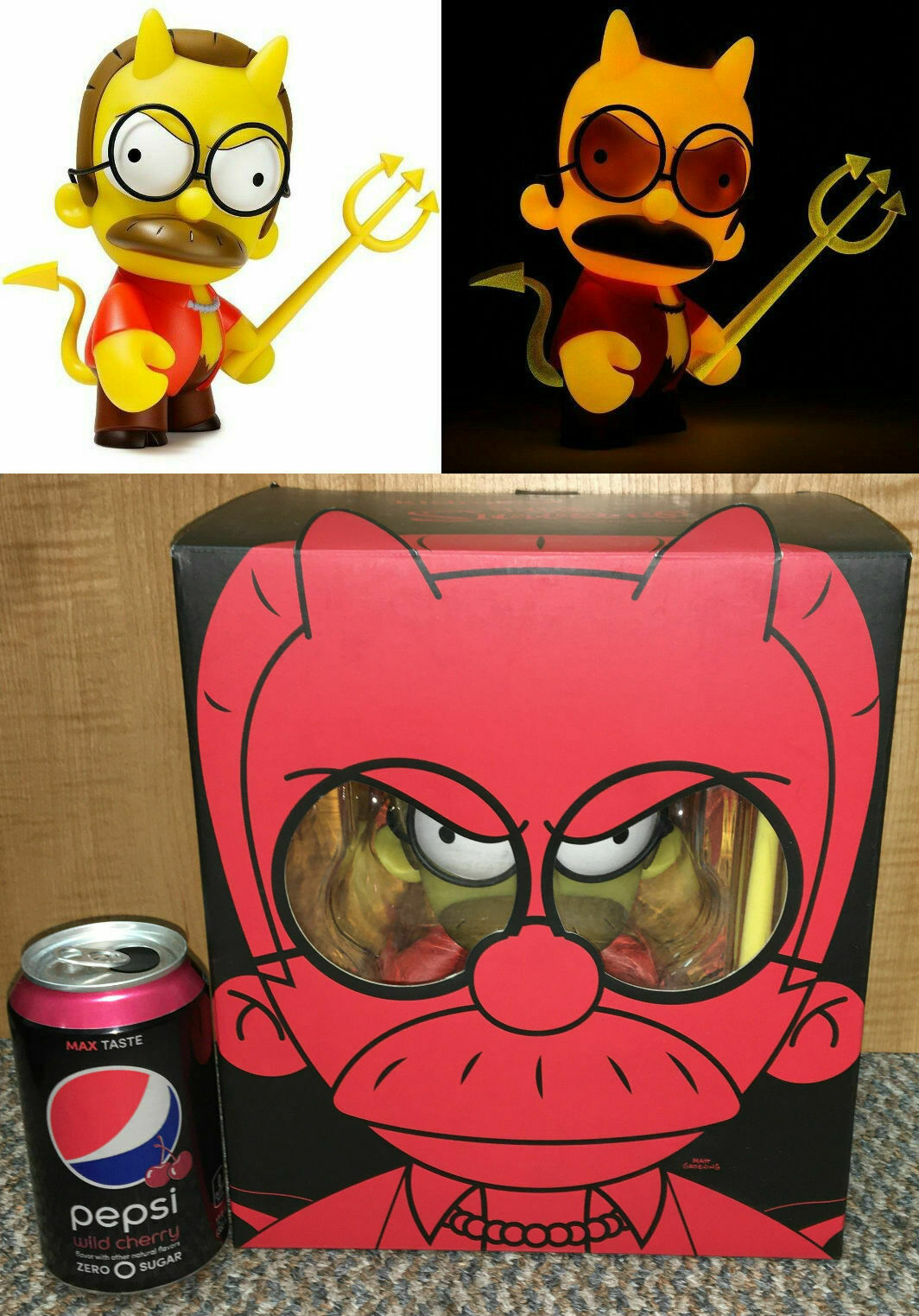 Devil Flanders Exclusive GITD 1 500 Rare Simpsons KidRobot Vinyl Figure Toy Doll
