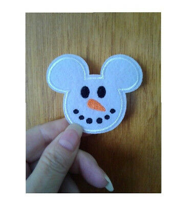 Mickey Mouse Snow Snowman Embroidered Iron On Applique Patch Winter