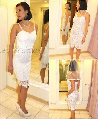Brautkleid Spitze kurz Hochzeitskleid X S M L XL XXL Braut ...